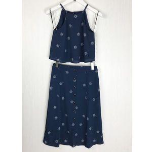 Midi Skirt and crop top set button down navy essue